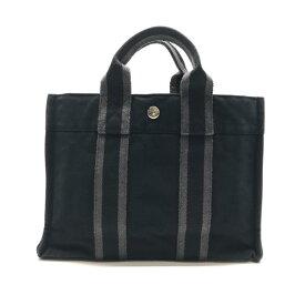 HERMES エルメス フールトゥPM ハンドバッグ かばん カバン 黒 ブラック グレー シルバー金具 レディース メンズ ブランド 管理RY20000270