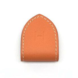 未使用 HERMES エルメス マネークリップ レザー オレンジ H マグネット Leather Money Clip 財布 札入れ ブランド 管理RY20000518
