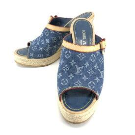 LOUIS VUITTON ルイヴィトン ウェッジソール サンダル モノグラムデニム 37 1/2(約24.5) 靴 ミュール パンプス レディース 管理RY20002085