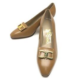 Ferragamo フェラガモ NAVARRA ガンチーニ パンプス サイズ6D 約23.5cm ブラウン 茶色 ベージュ レディース 靴 ブランド 約6cmヒール 管理RY20003699
