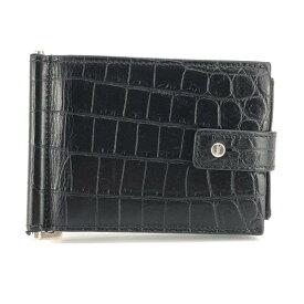 SAINTLAURENT サンローラン ART507 620.0418 クロコレザー マネークリップ ブラック 黒 財布 カードケース ブランド 管理RY20003731