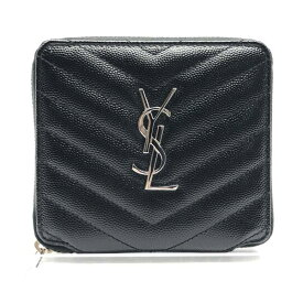 Y.S.L イヴサンローラン コンパクトウォレット 財布 ラウンドファスナー フルジップ 黒 ブラック レザー モノグラム 管理RY20004558