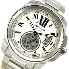 Cartier カルティエ W7100015 カリブルドゥ カルティエ メンズ 腕時計 白文字盤 ローマン スモールセコンド 3針 デイト 管理RY21000579