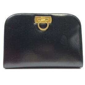 Ferragamo フェラガモ ガンチーニ ショルダーバッグ クラッチ 黒 ブラック レザー ゴールド金具 レディース ブランド 管理RY21001847