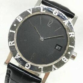 a17f7d5326 中古 BVLGARI ブルガリ BB33SGL ブルガリブルガリ 33mm メンズ クオーツ デイト 腕時計 ブラック 黒文字盤 レザーベルト  バーインデックス 管理Y