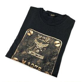 MCM エムシーエム メンズ Tシャツ ロゴ ヴィセトス 半袖 カジュアル ファッション サイズXL 黒 ブラック 管理RT20162