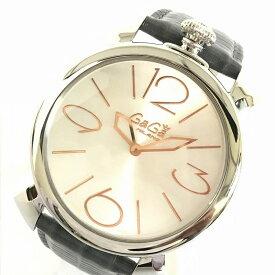 e0ae3df0c6 GaGaMILANO ガガミラノ マヌアーレ 5090.01マヌアーレシン THIN 46mm リザードレザー クオーツ腕時計 ユニセックス  Dバックル 管理