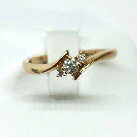 4℃ ヨンドシー ゴールド ダイヤモンドリング 9.5号 2.2g イエローゴールド K18 中古 レディース ジュエリー 指輪 ピンクゴール管理YI2506