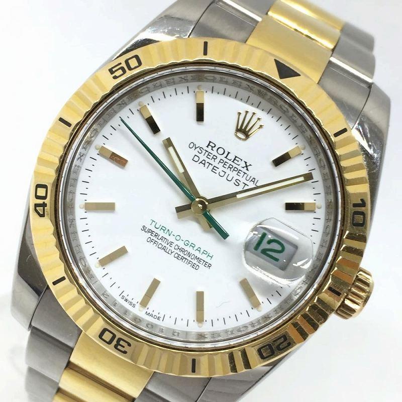 ROLEX ロレックス 116263 デイトジャスト ターノグラフ 日本限定 白文字盤 グリーン針 D番 メンズ オートマチック 腕時計 管理YI10570