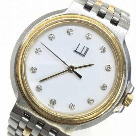 dunhill ダンヒル エリート クォーツ 2ロウ 12P ダイヤ K18YG×SS 腕時計 白文字盤 コンビ ゴールド 管理RM12728