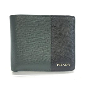 PRADA プラダ 2つ折り財布 サフィアーノ レザー ブラック カーキ グリーン系 メンズ バイカラー 管理RM14216