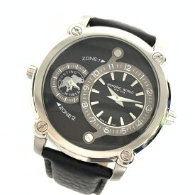 美品HUNTINGWORLD/ハンティングワールド ニューヨーク ダブルワールドHW011BKBK メンズ腕時計 クォーツ 稼働品管理YO15018