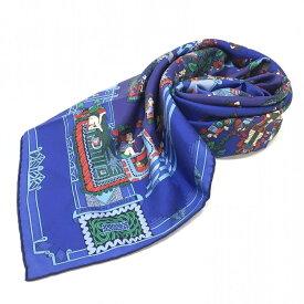 HERMES エルメス カレ90 スカーフ ASTRES et SOULEILS ストール ショール マフラー シルク素材 ブルー 青 ブランド 婦人服 管理RY17492