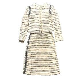 未使用 TORY BURCH トリーバーチT ツイード セットアップ ジャケット スカート 白系 サイズSM レディース 婦人服 フォーマル 管理RY17514