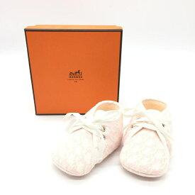 HERMES エルメス ベビーシューズ 赤ちゃん用品 女の子 ピンク 靴 コットン ギフト プレゼント 箱付き 管理RT17563
