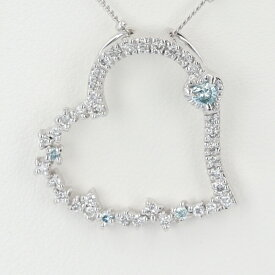 K18WG ホワイトゴールド ダイヤモンド付きハートモチーフネックレス D0.47ct 約45cm/約5.6g オープンハート 18金 4月誕生石 レディース 【中古】