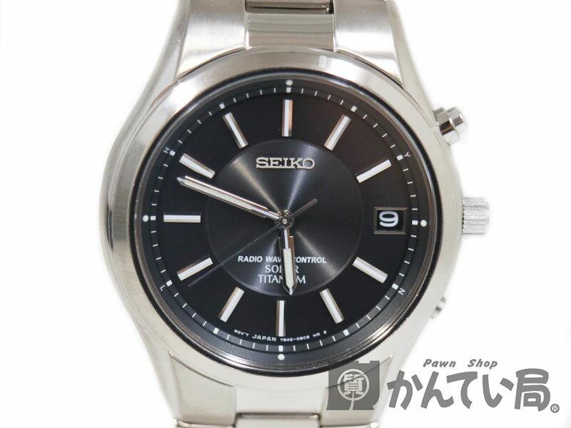 SEIKO【セイコー】 SBTM193 スピリット ソーラー電波 メンズ 腕時計 チタン ブラック USED-A 【中古】 質屋 かんてい局茜部店 a17-1710