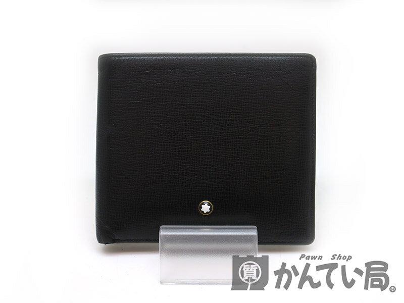MONT BLANC【モンブラン】 105702 二つ折り財布 レザー ブラック系 USED-B【中古】 a17-7730 質屋 かんてい局茜部店