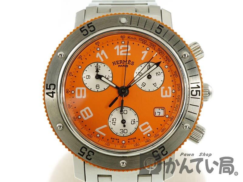 HERMES【エルメス】 CL2.916 クリッパーダイバークロノ 電池式 クオーツ 腕時計 オレンジ メンズ/レディース/ユンセックス 【中古】 USED-B【6】 k18-4216 かんてい局春日井店