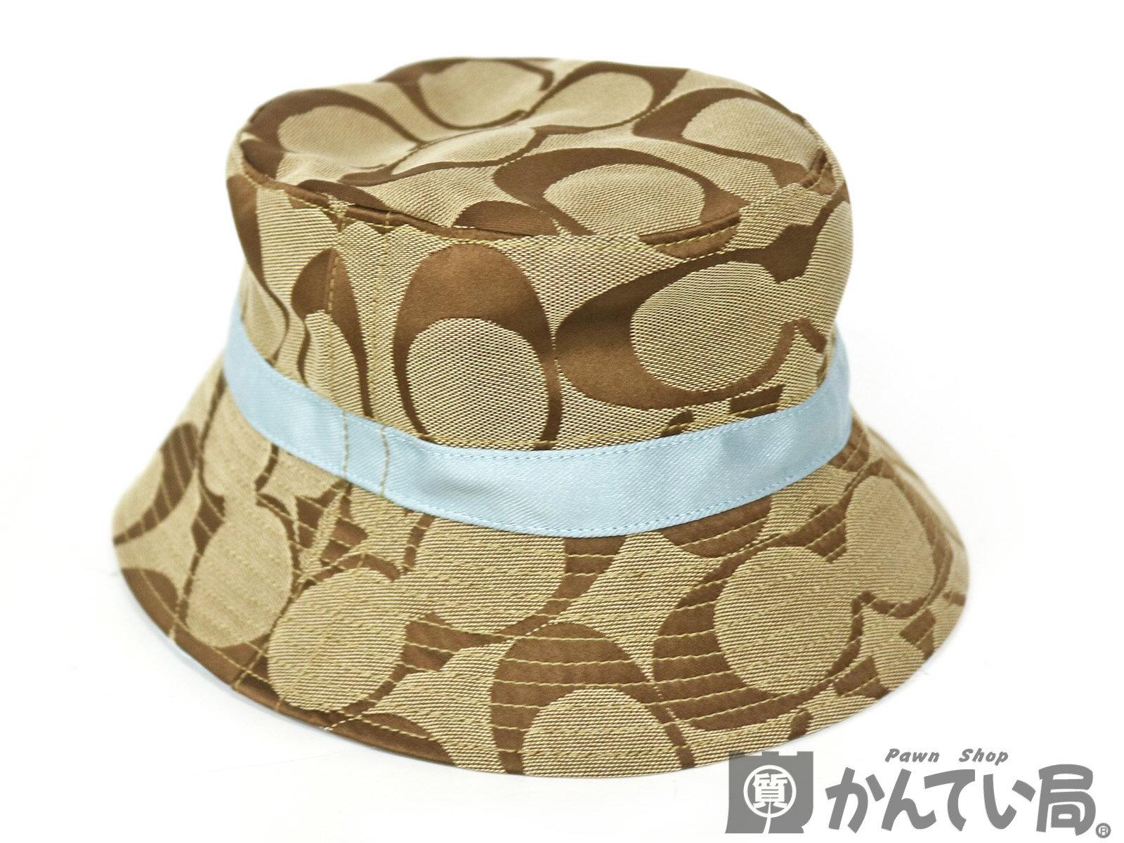 COACH 【コーチ】 ハット P/S シグネチャー ベージュ 水色 帽子 レディース メンズ 【中古】 USED-B かんてい局小牧店 c16-7205