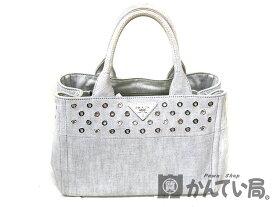 2259be174d2f PRADA【プラダ】 1BG439 カナパトートバッグ ホワイト系キャンバス ハンドバッグ 鞄 USED-