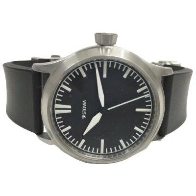 【美品】ストーヴァSTW-T02-RBフリーガー02機械式腕時計メンズ黒文字盤ラバーベルトノンデイトシンプル裏スケシースルーバックドイツジャーマニーSTOWAFlieger【中古】