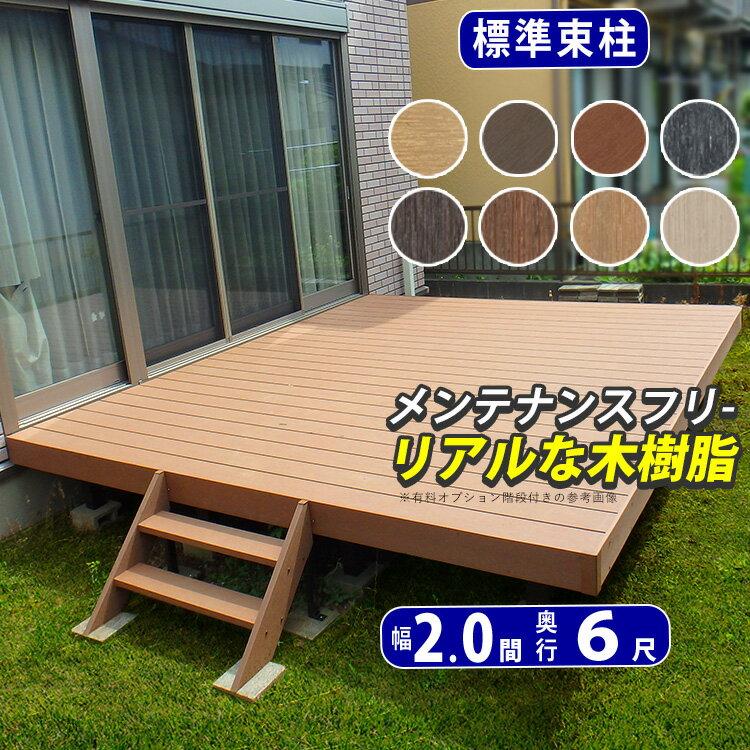ウッドデッキ (樹脂/人工木) DIYにオススメのデッキ 材料 セット(デッキ材・ウッドパネル/束柱・足/ビス) 腐らない人工木デッキは屋根をつけてお庭の洗濯物干し場に 新築 外構の施主支給品 間口2.0間(3.6m)×出幅6尺(1.8m) 送料無料