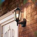 LED 玄関 壁付けライト おしゃれ 人感センサー付 LED 外灯電球交換可能 エクステリア クラシックポーチライト 黒色