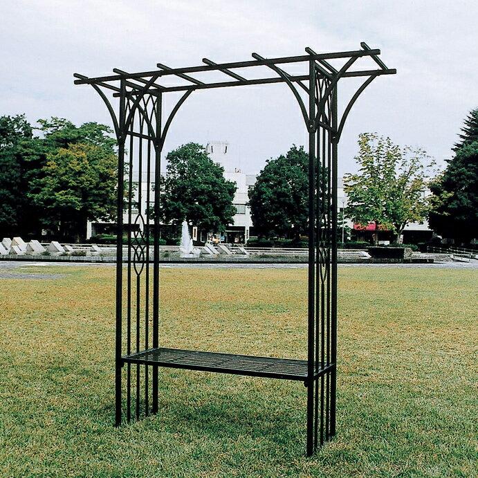 ロートアイアン製のベンチ兼花台/ハンガーフックなど パレットベンチ アイアンベンチ タイプA 【送料無料】