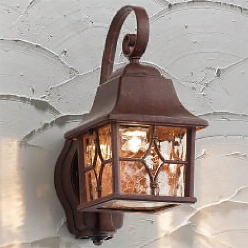 玄関照明 外灯 ポーチライト LED照明 照明器具 LED一体型 ハンドメイドのポーチ灯 人感センサー付 アンティーク色 在庫有り