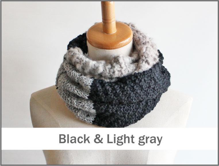 毛糸蔵かんざわオリジナルキット42 3種の糸で編むスヌード ブラック&ライトグレー 星野真美 デザイン 【KN】