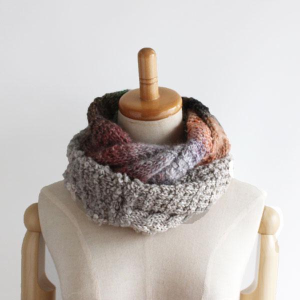 毛糸蔵かんざわオリジナルキット55 3種の糸で編むスヌード(やわらか) 【KN】 星野真美デザイン glitt 編み物キット