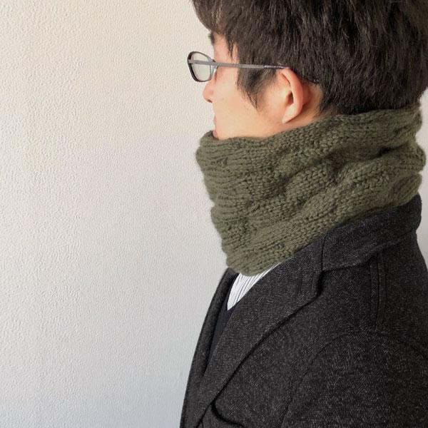 毛糸蔵かんざわオリジナルキット63 カシミヤヤクのメンズスヌード 【KN】 星野真美デザイン glitt 編み物キット