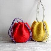 毛糸蔵かんざわオリジナルキット67アウトドアコードの巾着バッグ【KN】星野真美デザインglitt編み物キット
