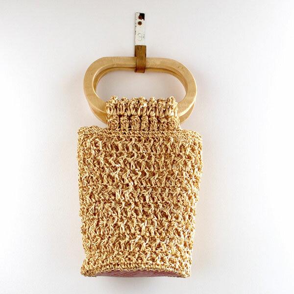キット オーバル手口のバッグ 3419 クリーム メルヘンアート 【KY】 星野真美 デザイン Marchenart 樹皮もどき 手編みバッグ 編み物キット