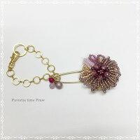 ☆ビーズクロッシェアクセサリーキットお花のブローチとバッグチャーム(ピンク)Fraw-318堤まさみオリジナル