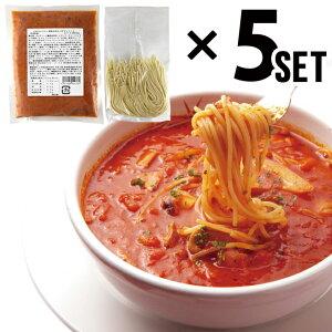 イル・キャンティ レストランの味 真夜中のスパゲティ(少し辛目のガーリックトマトスープ仕立て冷凍パスタソース)400g×5個、冷凍生スパゲティ5袋セット 化粧箱なし 送料無料(一部地域