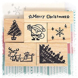 tugumi ラバースタンプ クリスマスセット 6点入り (MerryChristmas、ツリー、サンタ、雪の結晶、トナカイ)