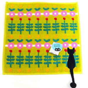 【ネコのハンカチ】 マタノアツコ タオルハンカチ ひなたぼっこ グリーン