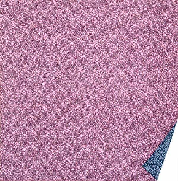 綿の風呂敷 両面染のふろしき 鮫小紋・麻型(色:エンジ|紺) 90cm 風呂敷専門店・唐草屋