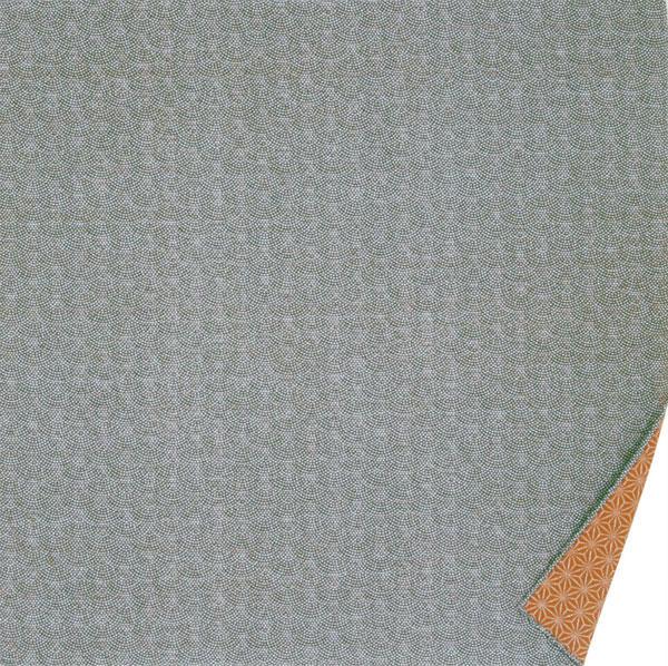 綿の風呂敷 両面染のふろしき 鮫小紋・麻型(色:グリーン|錆朱) 90cm 風呂敷専門店・唐草屋