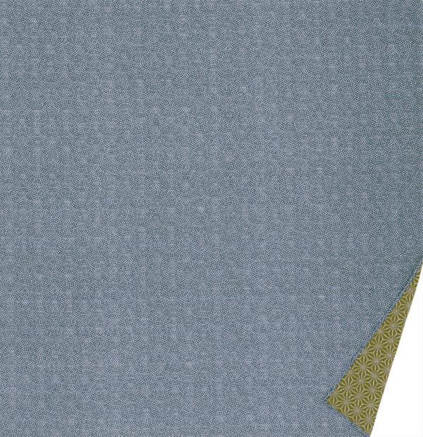 綿の風呂敷 両面染のふろしき 鮫小紋・麻型(色:紺|グリーン) 90cm 風呂敷専門店・唐草屋