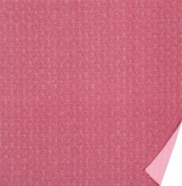 綿の風呂敷 両面染のふろしき 鮫小紋・麻型(色:ワイン|ピンク) 90cm 風呂敷専門店・唐草屋
