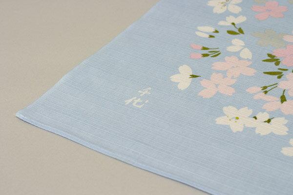 綿の風呂敷 宇野千代の愛した桜のふろしき 桜の園(ブルー)90cm 風呂敷専門店・唐草屋