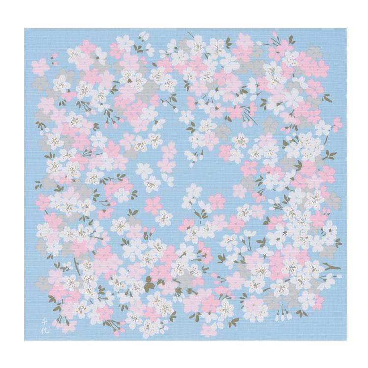 綿の風呂敷宇野千代の愛した桜のふろしき桜の園(ブルー)50cm風呂敷専門店・唐草屋