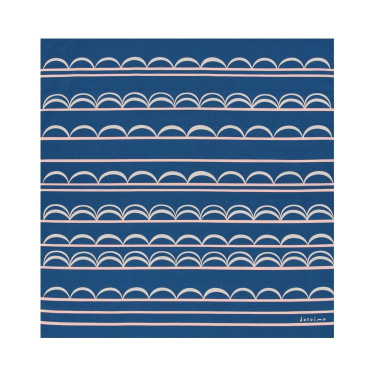 綿の風呂敷(ふろしき) コトイマ ナミモヨウ(青色)90cm 風呂敷専門店・唐草屋