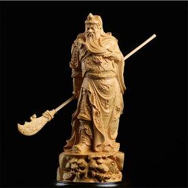 置物 フィギュア 関羽 青龍偃月刀を持つ立ち姿 三国志 木彫り 天然木