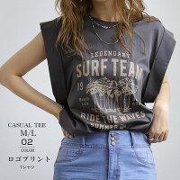 TシャツレディースロゴTシャツカットソービンテージプリント柄ボリュームスリーブ