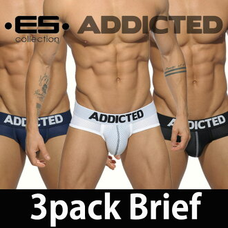 ADDICTED (jeweled) [3-disc set which deals» 3 PACK MESH BRIEF PUSH UP dot mesh tight-fitting men's full back b leaf men underwear low-rise men's pants stretching monotone classic basic standard sporty simplicity