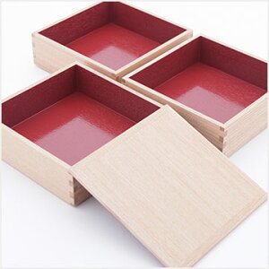 行楽・お正月・おせちに!松屋漆器日本製重箱白木内朱3段6寸18cm5〜6人用